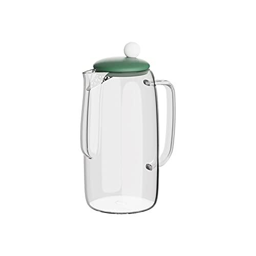 wantanshopping 50.7 oz Jarra de Vidrio de borosilicato con Compartimiento de té extraíble Caja DE Capacidad Grande con HANGE Anti-Scald Tetera doméstica (Color : Green)