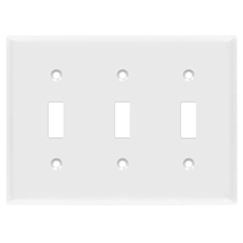 ENERLITES Triple Light Switch Wall Plate, Standard Size 3-Gang 4.50' x 6.38', Unbreakable Polycarbonate Thermoplastic, 8813-W, White