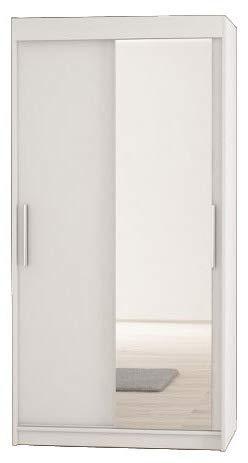 Kryspol Schwebetürenschrank Tokyo 2-120 cm mit Spiegel Kleiderschrank mit Kleiderstange und Einlegeboden Schlafzimmer- Wohnzimmerschrank Schiebetüren Modern Design (Weiß)