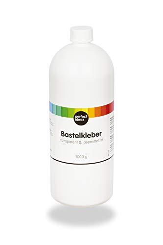 perfect ideaz 1.000 ml Bastel-Kleber, Kleb-Stoff transparent, lösemittel-frei, auswaschbar, flüssig, durchsichtig, Wasser-löslich, ungiftig & schnell-trocknend, Schul-Kleister zum Basteln für Kinder