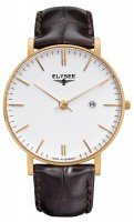 Elysée, orologio da uomo Zelos, in acciaio inossidabile placcato in oro, cinturino marrone scuro, movimento al quarzo, made in Germany