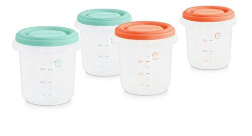 Miniland 89342 - Set de 4 herméticos para alimentos de 250ml. 4 recipientes para todo tipo de alimentos. Contenedores leche materna. Colección Mediterranean.