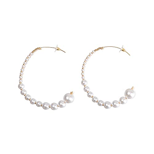 Partido redondo cuadrado joyería regalos lujo gota geométrica cuelga perla pendientes oro grandes aros(4)