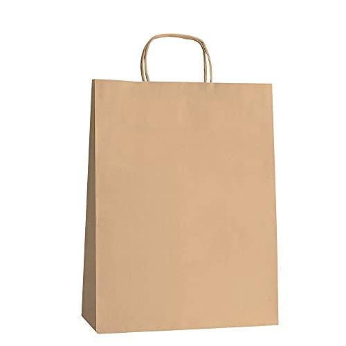 Oceano Bolsa de papel kraft,,Bolsas de Papel con Asas de Colores,Bolsa de Regalo Kraft con Asa,Bolsas de Fiesta de Regalo con Asas,Bolsas Papel Regalo 25UD (18x24x8, KRAFT)
