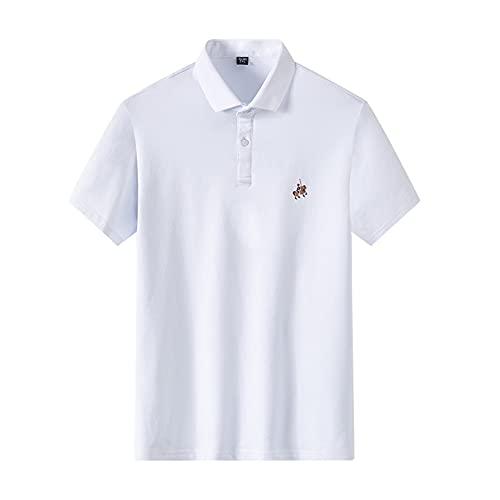 WanXingY Aoliwen Marca Hombres Anti-Pilling Sudor Transpirable Color Sólido 95% Algodón Manga Corta Polo Shirts Bordado Business Casual Polo (Color : SC Polo 1, Tamaño : Asia Size XL)
