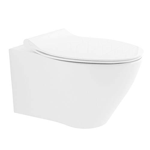 Geberit - WC da parete senza risciacquo, in ceramica, con funzione bidet, abbassamento silenzioso, set WC Taharet, ciotola in ceramica adatta a Geberit