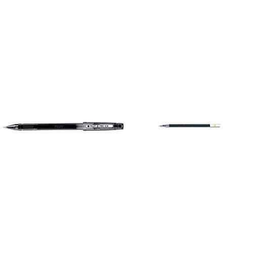 Pilot G-Tec C4 - Bolígrafo roller (0,4 mm), color negro, 12 unidades + Cartucho de recarga para bolígrafo G-Tec C4, color azul (pack de 12)