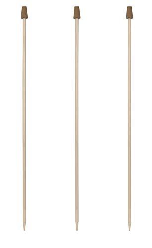 Windhager Rosenkugelstab Set, Holzstab für Gartenkugeln, Holz-Stab für Glaskugeln, mit Korkaufsatz, für Rosenkugeln mit 12-16 cm, 3 Stück, 89142, Natur, 100 cm