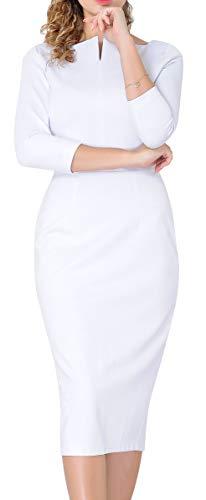 Marycrafts Women's Work Office Business Square Neck Sheath Midi Dress 4 Off White