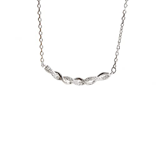 WDBUN Collar Colgante Joyas Silver Flash Diamond Twist Smile Collar de Plata Cadena de clavícula de Moda de Temperamento Helado Simple para Mujer Regalo de cumpleaños de Navidad de acción de Gracias