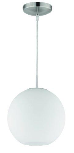 Reality Leuchten Pendelleuchte Pendellampe in nickel matt, Glas opal weiß, 1x E27 maximal 60 W ohne Leuchtmittel, Durchmesser 25 cm, Abhängung maximal 150 cm R30152507
