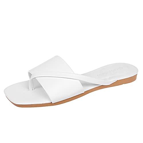 URIBAKY - Pantuflas de exterior para mujer, color puro, transpirables, casuales, elegantes, sandalias de tirantes, cómodas, planas, zapatos de playa, Blanco (blanco), 38 EU