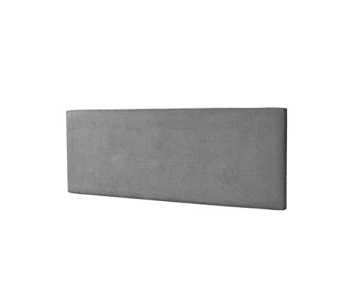 DHOME Cabecero de Polipiel o Tela AQUALINE Liso cabeceros Cabezal tapizado Cama Lujo (Tela Gris, 110cm (Camas 80/90/105))