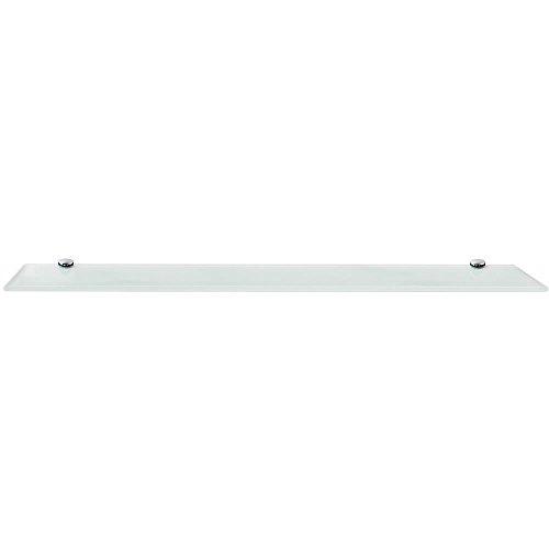 Melko Glasablage, Glasregal ideal für Bad, Dusche und zur modernen Dekoration mit Halterung aus Edelstahl 80 x 10 x 0,8 cm, Weiß