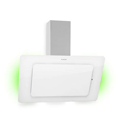 Klarstein Helena - Campana extractora de pared, ECC A, Potencia de extracción máxima 595 m³/h, 3 potencias, Luz ambiental con 9 colores, Pantalla LED, Panel de control táctil, 90 cm, Blanco