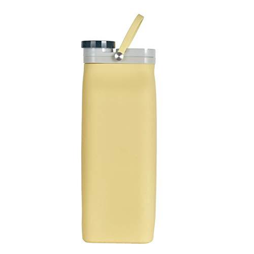 HAOXUAN Botella de Agua Plegable de Silicona, Botella de Agua de Viaje para Deportes al Aire Libre para el hogar, Botella de Agua portátil de Alta Capacidad para Senderismo,Amarillo