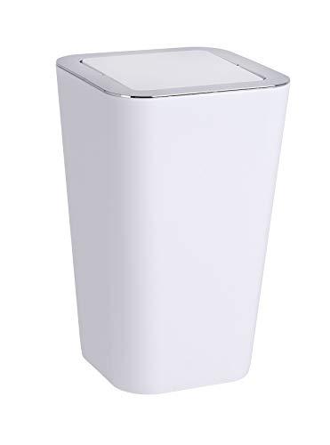 WENKO Schwingdeckeleimer Candy White - Abfallbehälter mit Schwingdeckel Fassungsvermögen: 6 l, Polystyrol, 18 x 28.5 x 18 cm, Weiß
