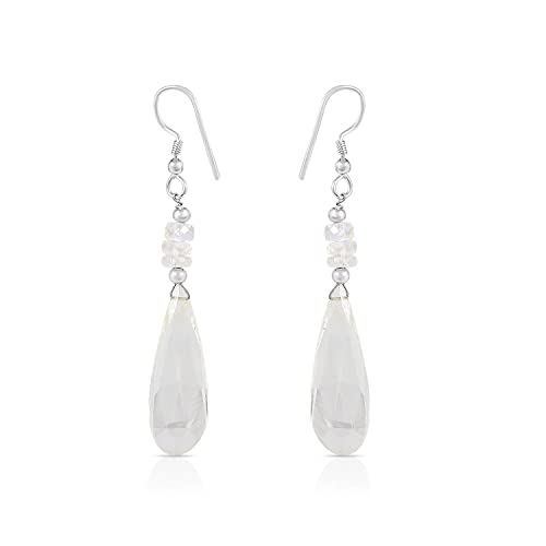 Gemshiner Aretes colgantes de cuarzo blanco y piedra lunar arcoíris con forma de pera en forma de pera en plata de ley 925