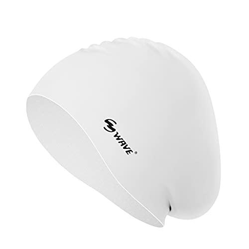 Sharplace Sombrero de natación de Pelo Largo Gorro de baño Flexible de Alta Elasticidad para Mujer Fácil de Poner y Quitar - Blanco