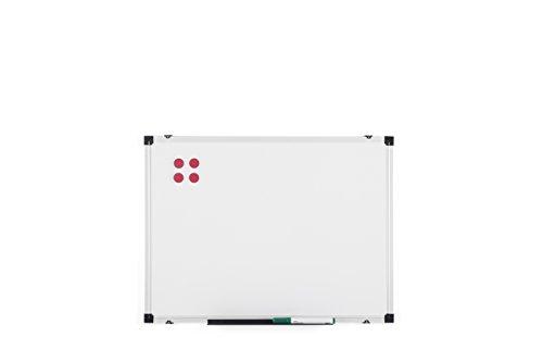 BoardsPlus, Lavagna Magnetica con Cornice Alluminio e Vassoio Portapenne, Bianco, 60 x 45 cm
