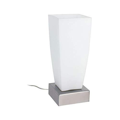Paulmann 77037 Jenni - Lámpara de mesa de metal y cristal (E14, máx. 40 W, 230 V), color níquel satinado y ópalo