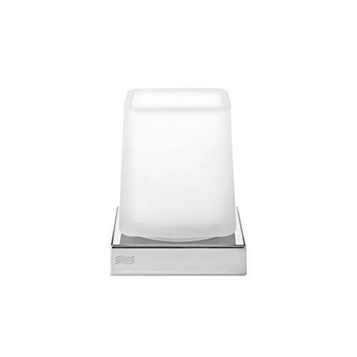 INDA - Accessori Bagno, Serie Divo, Portabicchiere da Appoggio con Base di appoggio in Ottone Cromato e Bicchiere in Vetro Trasparente Extrachiaro, Dimensioni 9,2 x 9,2 x 11,2