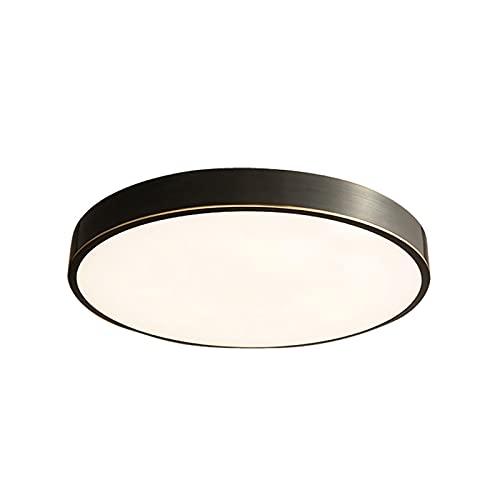 Lámpara de techo LED ultrafina, 3 colores regulable, montaje empotrado, cobre con pantalla acrílica para sala de estar, pasillo o dormitorio iluminación (negro, diámetro 40 cm)