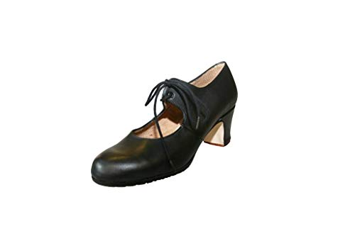 Menkes Zapato Flamenco Modelo Debutante Sevilla Piel con Clavos para Mujer Talla 42 Negro