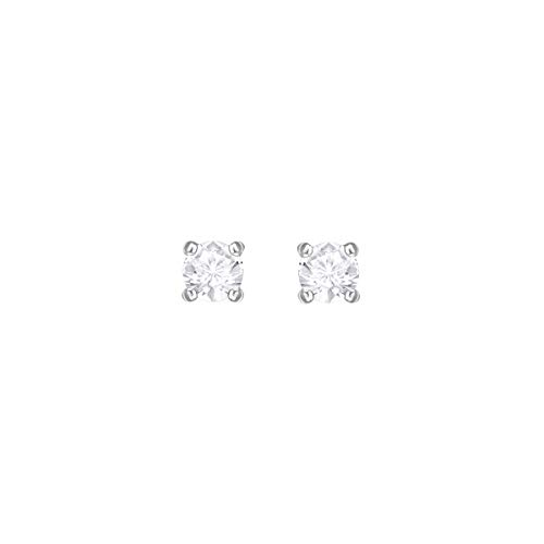 Swarovski Attract Round Stud Earrings with Clear Swarovski Crystals on a Rhodium Plated Setting, .04 cm, a Part of the Attract Collection