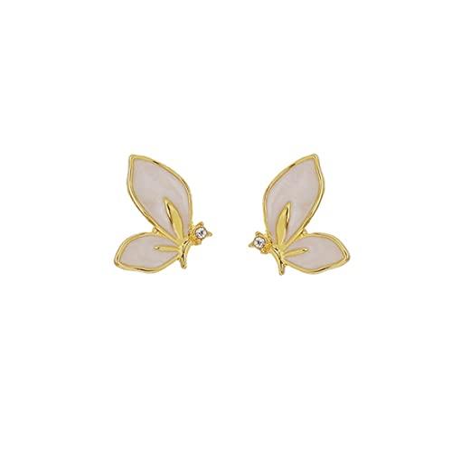 Pendientes, S925 Aguja De Plata Mariposa Pequeña Coreana Super Fairy Net Pendientes De Temperamento Rojo Pendientes Duraderos Mujeres - Dorado