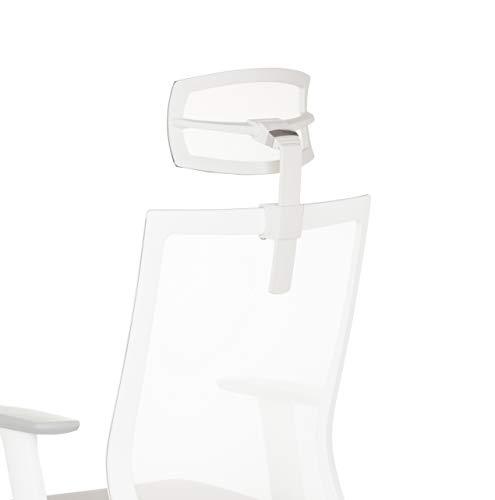 hjh OFFICE 657631 reposacabezas Blanco para Silla de Oficina Aspen White Accesorio ergonómico Ajustable
