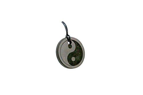 MyHomeLux® Shungite Colgante Yin Yang con grabado Ø3 cm Original Shungit Karelia – Protección EMF y equilibrio de chakras, con garantía de calidad