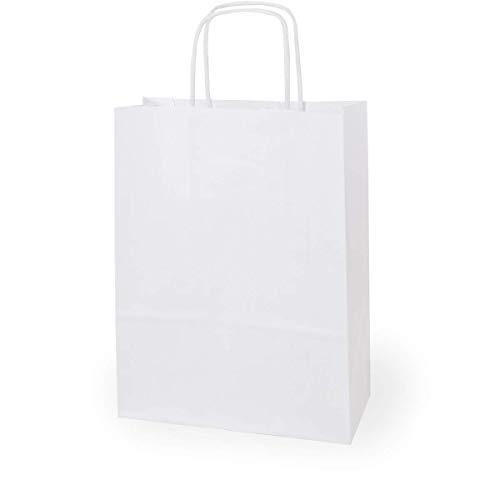 Cottonbagjoe Kraftpapiertüten mit Griff   32x36,5x16 cm   150 Stück  Papiertüten mit gedrehten Henkeln   Geschenktüten Weiß   Papierbeutel   Kraftpapiertaschen   Papiertasche mit Boden