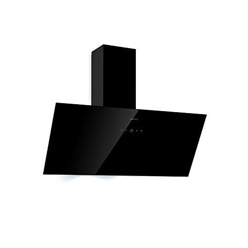 KLARSTEIN Laurel 90 - Hotte aspirante, 90 cm, débit d'air extrait : 350 m³/h, éclairage de Table de Cuisson à LED, écran Tactile, Filtre à Graisse en Aluminium, 64 DB, Noir
