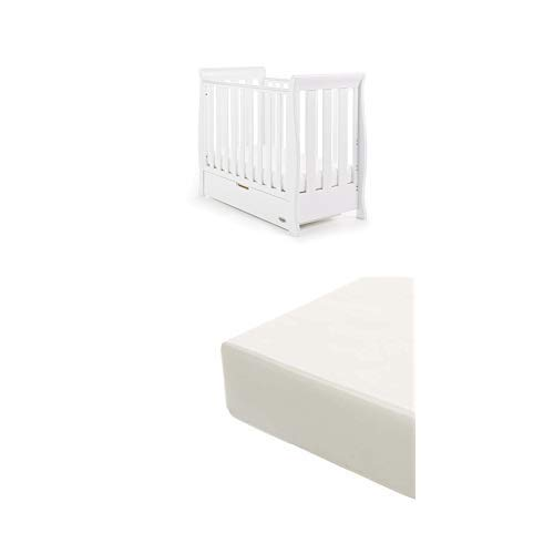 Obaby Stamford Sleigh Space Saver Cot and Foam Mattress - White