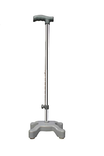 Kds Surgical™ Quadripod Chroome Height Adjustable Men/Women/Old People Walking Stick - Grey and Steel