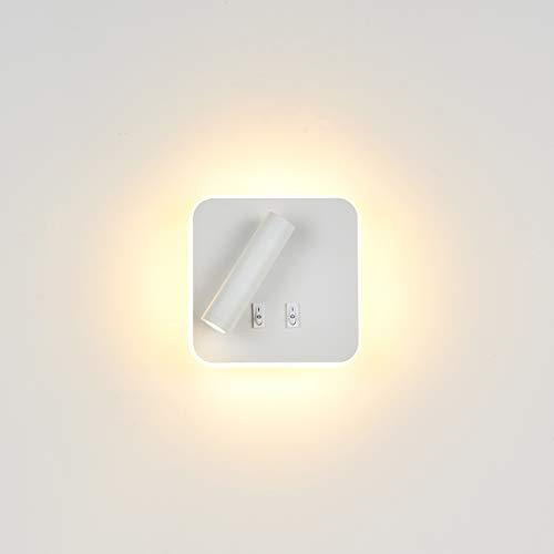 Topmo-plus Bañadores de pared Dormitorio Interruptor volvible apliques de lectura de pared cama Iluminación de Pared cabecera / 3W LED Cree COB + 9W SMD 360 gradosgiratoria Blanco/Blanco Cálido 13CM