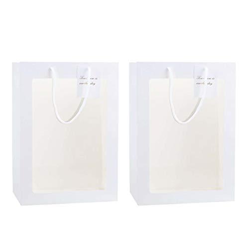 2Piezas Bolsa de Regalo de Papel Premium de Regalo, Bolsa de Embalaje de Ramo Con Un diseño de Escaparate Transparente, Bolsa de Regalo Para cumpleaños, Fiesta para Boutique Packaging Regalo (Blanco)