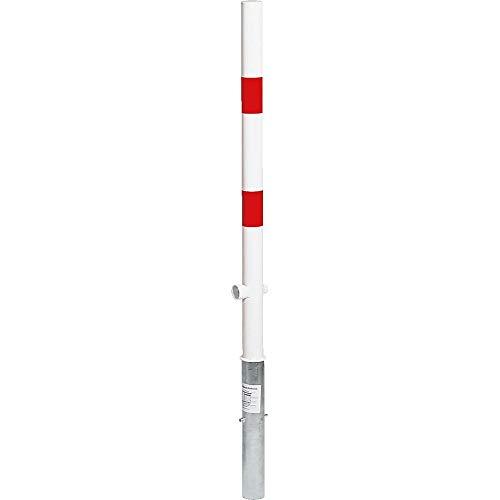 ROBUSTO Sperrpfosten mit Dreikantschloss, Absperrpfosten zum Einbetonieren, ohne Kettenösen, rot/weiß, Ø 6 cm aus Stahl