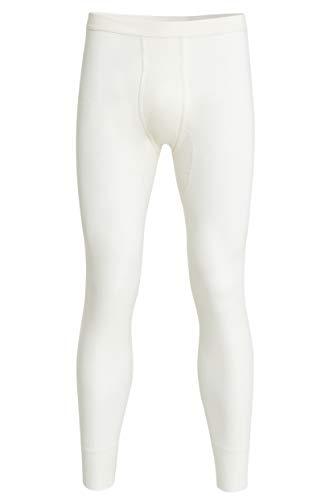 con-ta Lange Hose mit Eingriff, Unterhose für Herren, anschmiegsame Unterwäsche, Leggings aus weichem Angora und Baumwolle, in Wollweiß, Größe: 8
