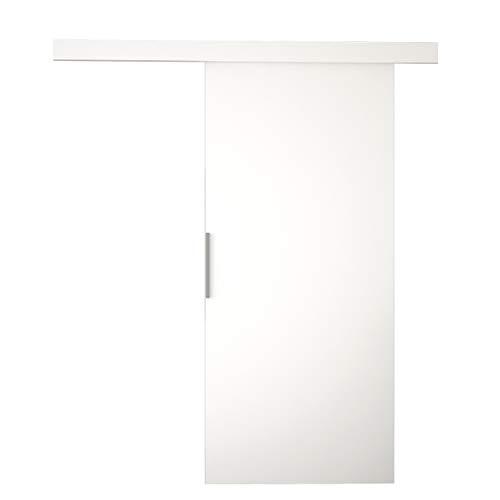 Mirjan24 Schiebetürsystem Geko I mit Selbstschließer Komplett-Set für Schiebetüren mit Bodenführung Solide Aluminiumgriffe Zimmertür Tür Trennwände Innentüren (Weiß, Modell: 80)