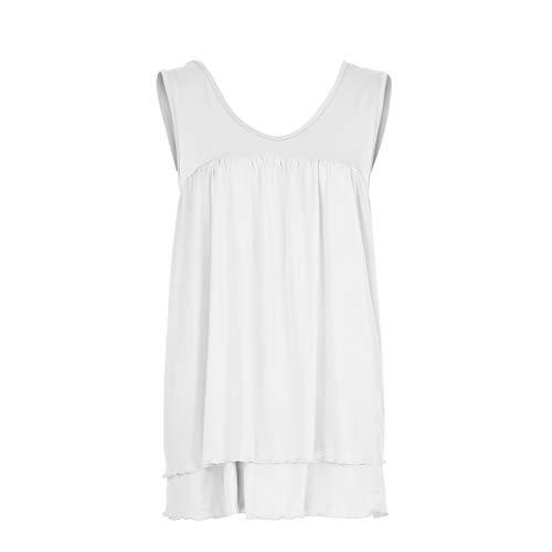 Janly - Chaleco sin mangas para mujer, talla grande, cuello redondo, sexy, holgada, plisada, blusa para mujer, color blanco (XXXXL)