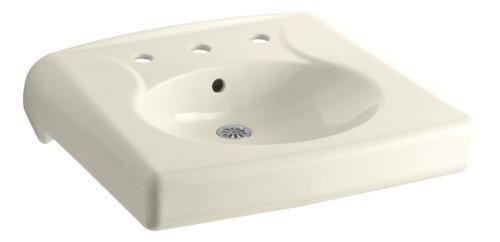 KOHLER K-1997-8-47 Brenham Wall-Mount Bathroom Sink with 8' Centerset, Less Soap Dispenser Hole, Almond