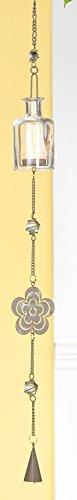 GILDE Hängedeko Flaschenwindlicht Teelichthalter Kerzenhalter Blume aus Metall und Glas, 100 cm