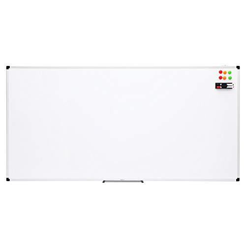 AmazonBasics Magnetisches Whiteboard mit Stiftablage und Aluminiumleisten, trocken abwischbar, 180 cm x 90 cm (B x H)