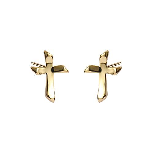 1 pieza de pendientes para mujer pequeños en forma de cruz de plata de ley 925 accesorios