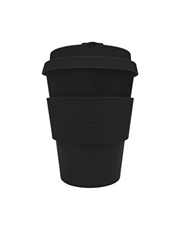 Sustainable Bamboo Reusable Coffee Cup for Travel To Go 12oz | Takeaway Mug with Lid & Spill Stopper | Plastic & BPA Free | Dishwasher Safe Portable Eco Cup | Organic Bamboo Fiber | Black & Black Logo