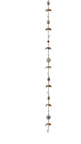 "Ancient Graffiti 4\""x92\""x4\"" Flamed Copper Umbrella and Bells Rainn Chain Antikes Graffiti, 10,2 x 233,7 x 10,2 cm, geflammter Kupferschirm und Glocken, Regenkette, 4\"" x 92\"" x 4\"""