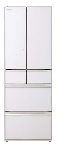 日立 冷蔵庫 520L 6ドア 強化ガラスドア 観音開き 日本製 幅65.0cm まるごとチルド R-HW52K XW クリスタルホワイト