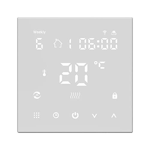 Explopur WiFi HY607 Pantalla Digital ntrolador de Temperatura Inteligente Termostato de Caldera de calefacción de Piso eléctri Multifuncional mpatible n Amazon Alexa y Google Home